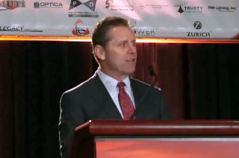 Photo shows former Seattle Seahawks great Steve Largent speaking at the 2013 NATE conference in Ft. Worth.