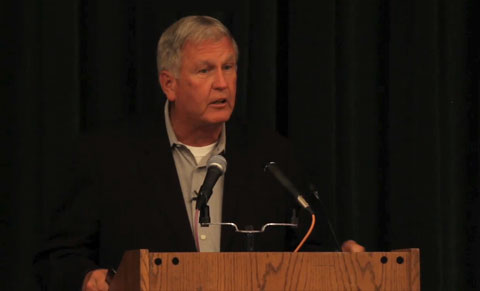 Photo shows Tommy John speaking on July 27, 2013 at the Baseball Hall of Fame honoring renowned surgeon Dr. Frank Jobe for his revolutionary elbow surgery and impact on the game.