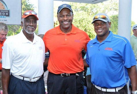 Photo shows Dwight Stephenson with friends at the 2014 FMU and Dwight Stephenson Golf Tournament.