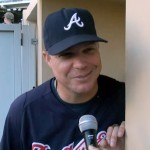 Photo shows Chipper Jones in an interview speaking about his final year in baseball.