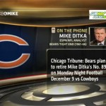 Chicago Bears plan to retire Mike Ditka's No. 89 jersey on December 9, 2013.