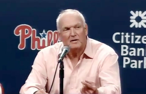 Photo shows Charlie Manuel speaking to the press after the Phillies fired him on August 16, 2013.