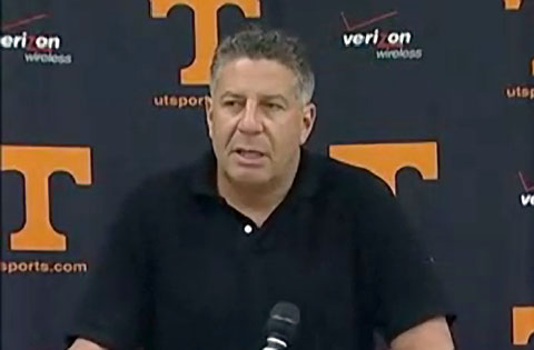 Photo shows former University of Tennessee men's basketball coach and current ESPN analyst, Bruce Pearl, speakein at a press conference June 11, 2009.
