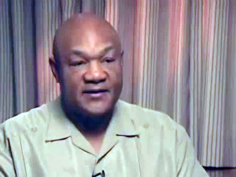 Photo shows former heavyweight champion, George Foreman, Speaking about his life in an interview on the Graham Bensinger. Show.