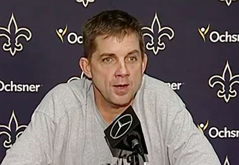 Photo shows New Orleans Saints head coach, Sean Payton, speaking with the press after the Saints 23-17 win over the Falcons.