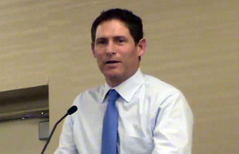 Photo shows former NFL quarterback, Steve Young speaking at the 32nd annual Affirmation Conference in Salt lake City, Utah on September 14, 2013.
