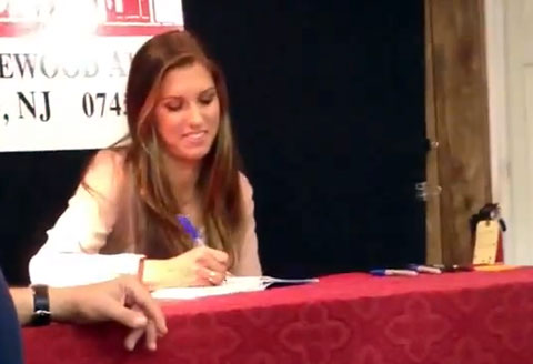 Photo shows Alex Morgan at a 2013 book signing at Bookends in NJ.
