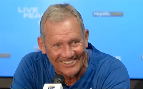 "Photo shows George Brett speaking to the media in July 2013 speaking about the ""Pine Tar Game"" against the New York Yankees that was played 30 years ago on July 24, 1983."