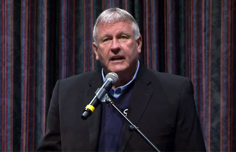 "Photo shows former MLB pitcher, Tommy John, speaking on March 30, 2012 at MTSU's 2012 ""Baseball in Literature and Culture Conference."""