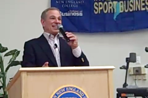 "Photo shows former Mets & Red Sox, baseball manager, Bobby Valentine, Speaking in 2009 at Western New England College as part of the Center for International Sport Business ""For the Love of the Games"" speaker series."