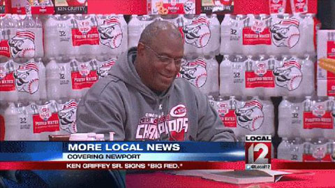 "Photo shows Ken Griffey Sr. signing his new book ""Big Red""in April 2014 at the Newport Kroger."