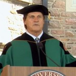 Photo shows former St. Louis Cardinals manager, speaking to 3000 graduates at Washington University in St. louis.