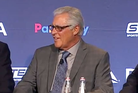 Photo shows former Yankees shortstop Bucky Dent discussing The Home Run with Mike Torres