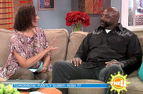 "Photo shows Ed ""Too Tall"" Jones speaking with 'You And Me This Morning' in 2012."