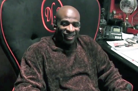 Photo shows Deion Sanders speaking-Panini America about the importance of autograph signings. Feb. 2012.